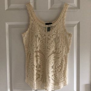 Cream colored lace sheer women's tank top